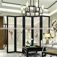 中国风夹丝夹绢艺术玻璃屏风隔断